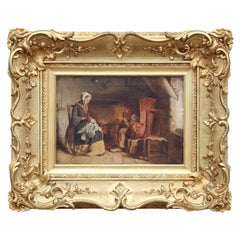 Traditional Figurative Fireside Genre Scene Painting