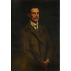 Huge 1900's British Oil Society Portrait of a Sporting Gentleman holding Shotgun