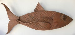 """""""Alubulidae 1""""Hand forged salvaged steel fish wall sculpture"""