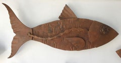 """""""Alubulidae 4"""" Hand forged salvaged steel fish wall sculpture"""