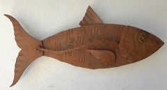 """""""Alubulidae 5"""" Hand forged salvaged steel fish wall sculpture"""