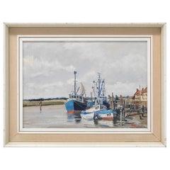 Hugh Knollys Oil Painting, Boats on the Blythe, English Art, 20th Century, 1970s