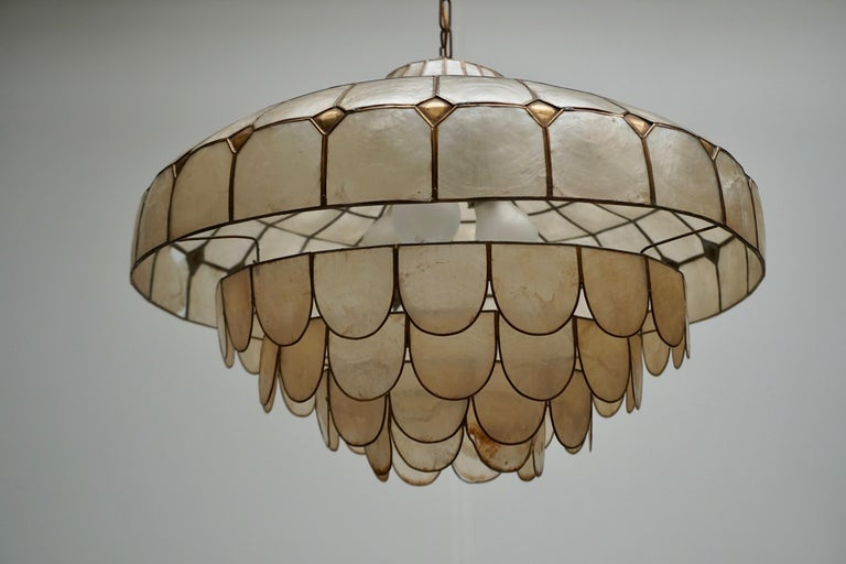 Hugh Nacre or Mother-of-Pearl and Brass Pendant Lamp, Italy, 1960 For Sale 6