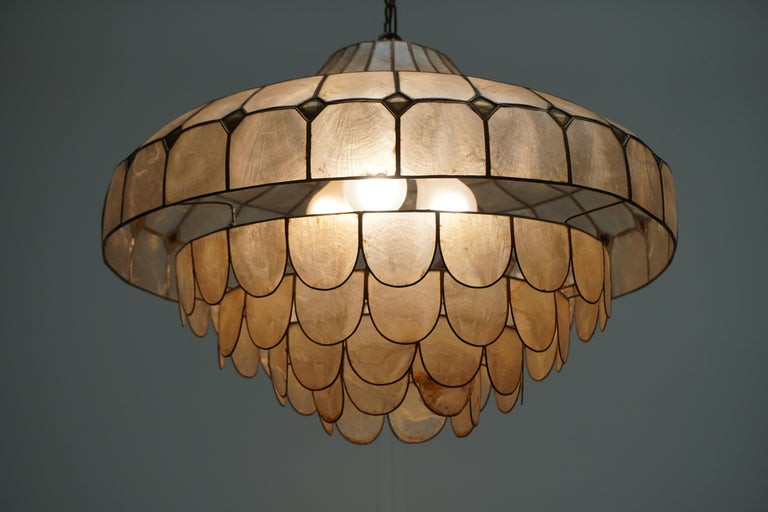 Hugh Nacre or Mother-of-Pearl and Brass Pendant Lamp, Italy, 1960 For Sale 7