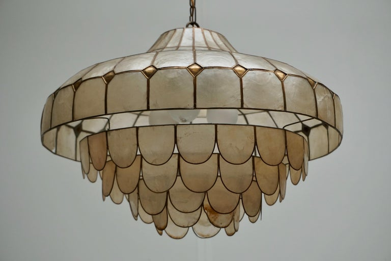 Hugh Nacre or Mother-of-Pearl and Brass Pendant Lamp, Italy, 1960 For Sale 9
