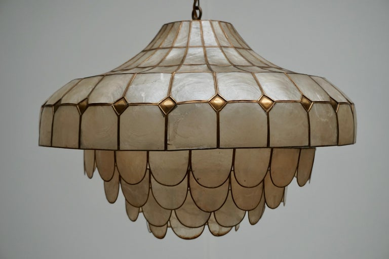 Hugh Nacre or Mother-of-Pearl and Brass Pendant Lamp, Italy, 1960 For Sale 10