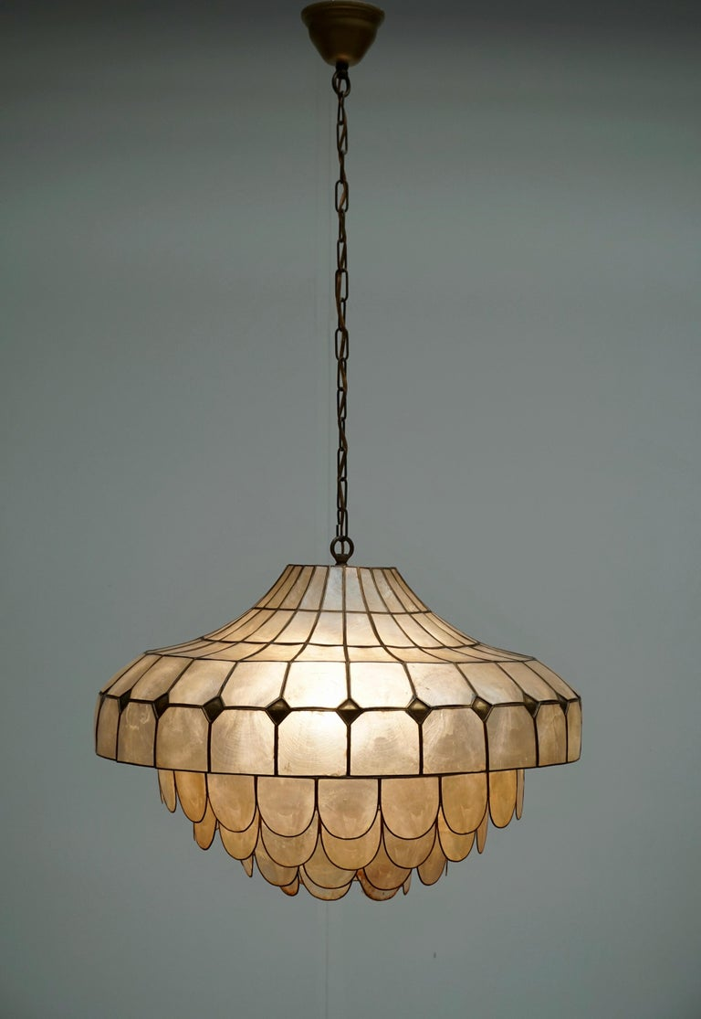 Italian Hugh Nacre or Mother-of-Pearl and Brass Pendant Lamp, Italy, 1960 For Sale