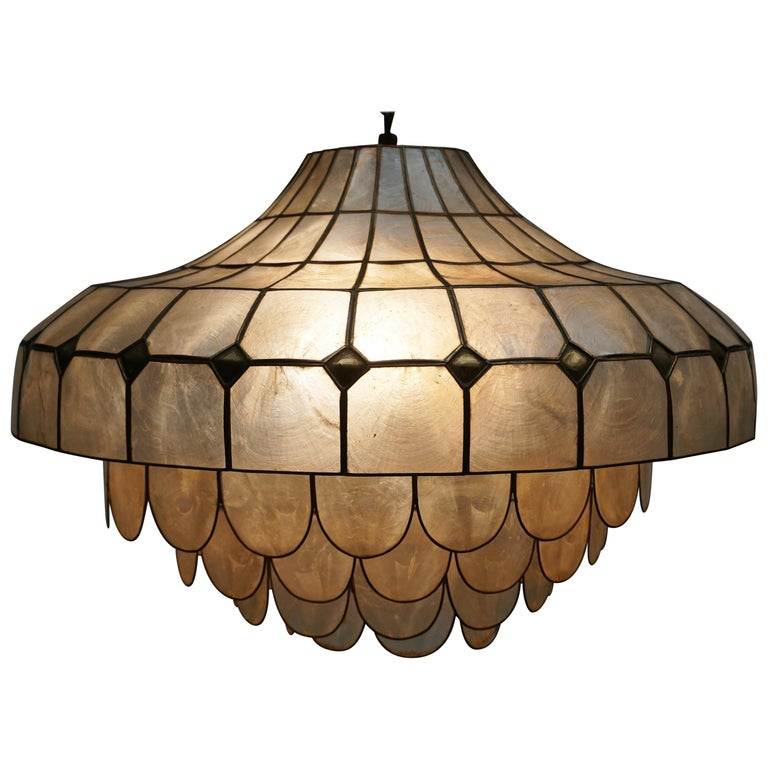 Hugh Nacre or Mother-of-Pearl and Brass Pendant Lamp, Italy, 1960 For Sale