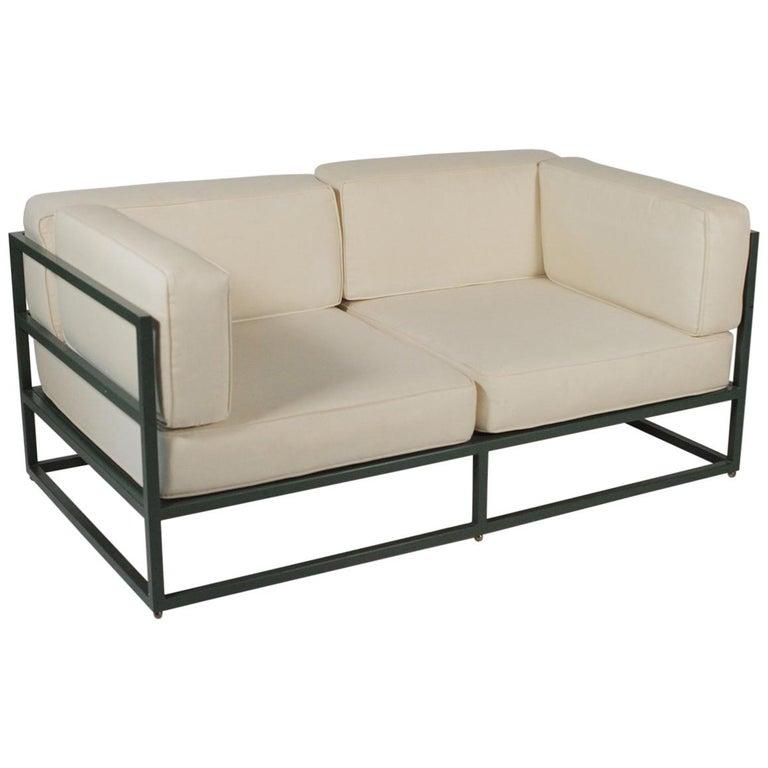 Hugh Newell Jacobsen 2-Sitzer Sofas, Original Grün Emailliertes ...