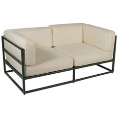 Hugh Newell Jacobsen Custom Made Love Seats, Original Green Enameled Steel
