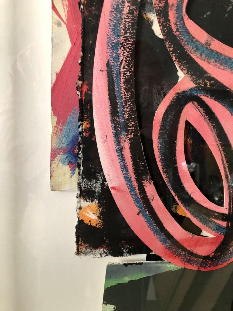 1980s Abstract Expressionist Pop Art Painting Collage, Assemblage Hugh O'Donnell For Sale 9