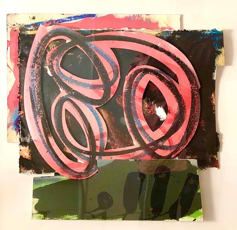 1980s Abstract Expressionist Pop Art Painting Collage, Assemblage Hugh O'Donnell For Sale 2