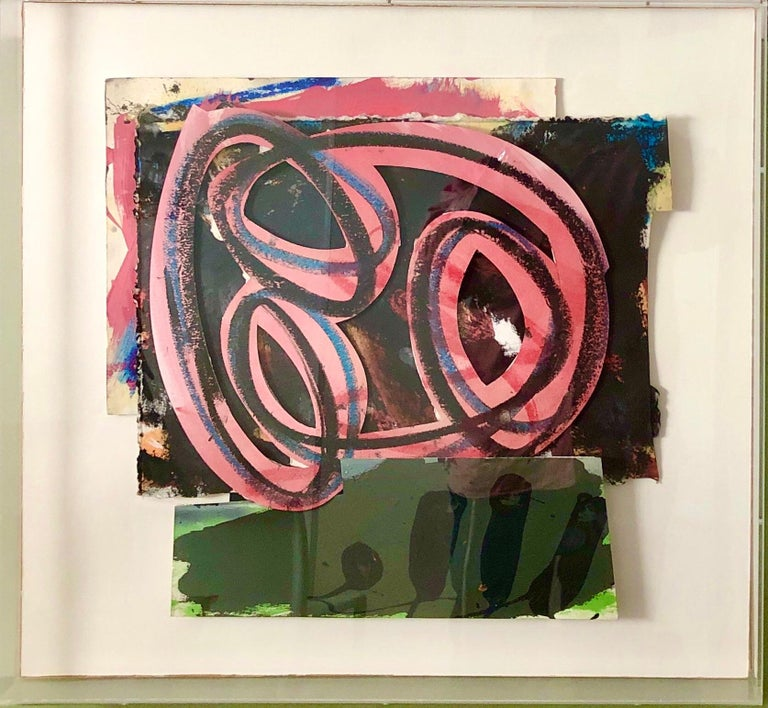 1980s Abstract Expressionist Pop Art Painting Collage, Assemblage Hugh O'Donnell For Sale 3