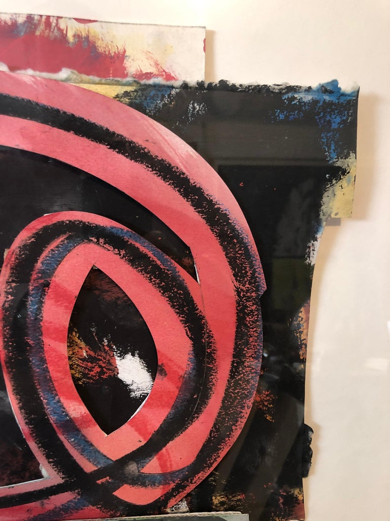 1980s Abstract Expressionist Pop Art Painting Collage, Assemblage Hugh O'Donnell For Sale 8
