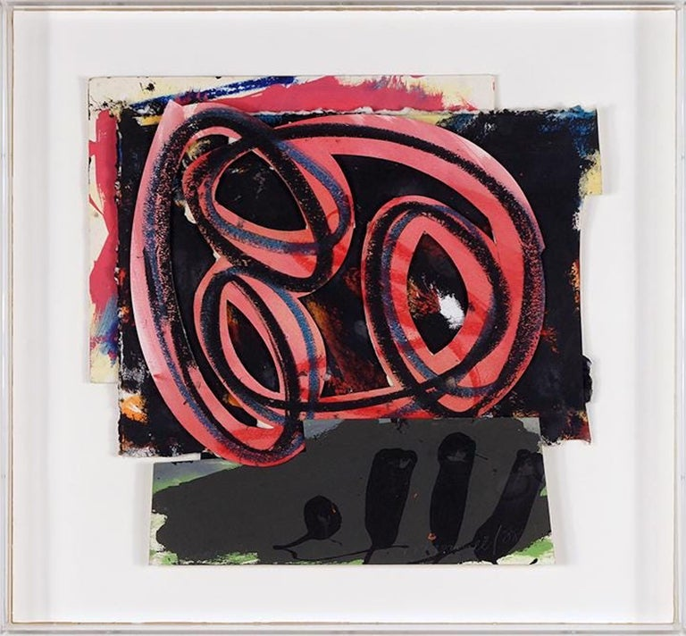 1980s Abstract Expressionist Pop Art Painting Collage, Assemblage Hugh O'Donnell - Gray Abstract Painting by Hugh O'Donnell