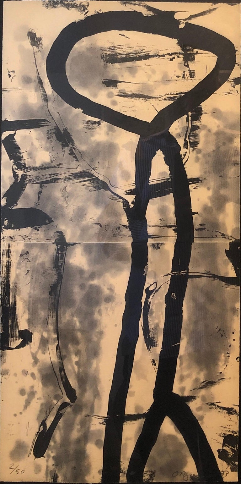 Lacuna, Abstract Expressionist Color Etching from Graphicstudio, Hugh O'Donnell - Brown Abstract Print by Hugh O'Donnell