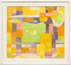 Harbor (Vintage Abstract Painting, Yellow, Orange, Purple, Green, Pink & White)