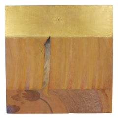 Large Golden Mixed Media Abstract Painting, 20th Century