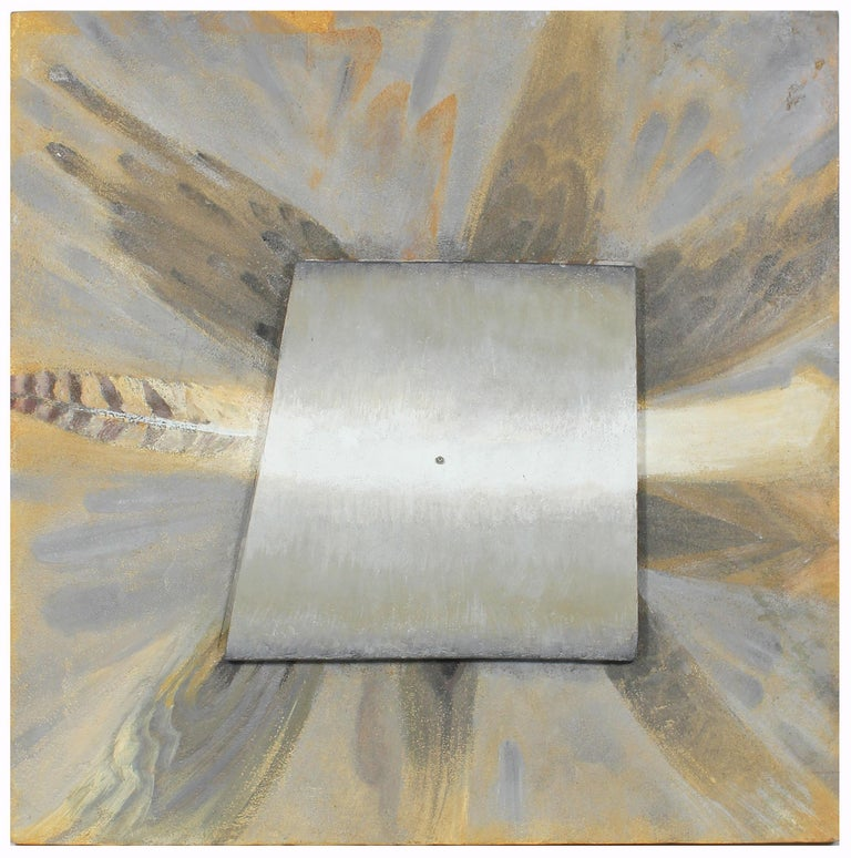 Mixed Media Metallic Sculptural Painting on Wood in Orange Grey and Silver, 2002 - Mixed Media Art by Hugh Wiley