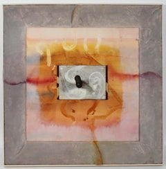 Mixed Media Sculptural Painting in Pale Pink & Cement, Circa 1980