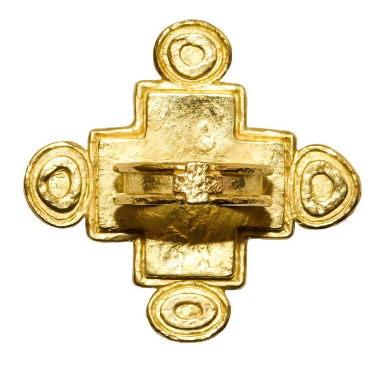 Artisan Hughes-Bosca 18 Karat Chrysophrase and Mexican Jelly Opals Cross Ring For Sale
