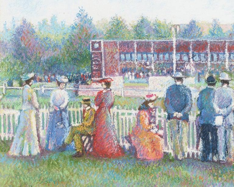 Dimanche au Champ de Course (Deauville) (Sunday at the Racetrack) - Post-Impressionist Painting by Hughes Claude Pissarro