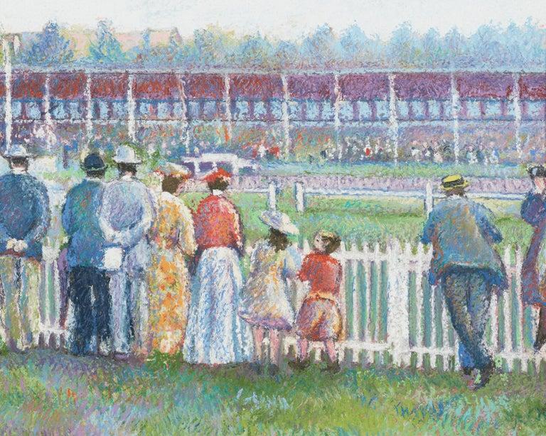 Dimanche au Champ de Course (Deauville) (Sunday at the Racetrack) - Gray Landscape Painting by Hughes Claude Pissarro