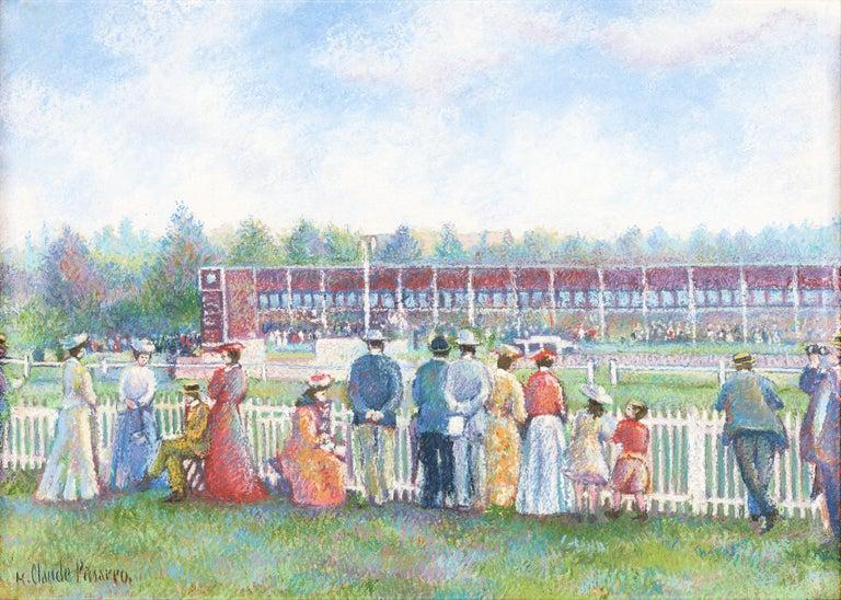 Hughes Claude Pissarro Landscape Painting - Dimanche au Champ de Course (Deauville) (Sunday at the Racetrack)