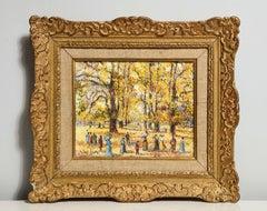 """French Impressionist """"Le Allée du Bois"""" Park Scene, figures and Women w/ Parasol"""