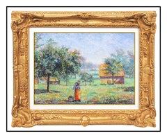 H Claude Pissarro Oil Pastel Painting Signed Original French Landscape Framed