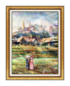 H. Claude Pissarro Original Pastel Painting Signed French Landscape Art Hughes