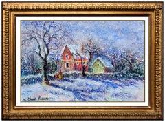 H. Claude Pissarro RARE Original Pastel Signed French Landscape Framed Painting
