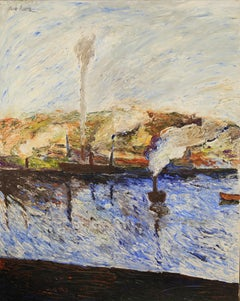 Impasto painting titled Camille - Port Fumant, 1990 by Hugues Claude Pissarro