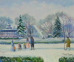 Snowscape painting titled Le Kiosque Joudon à Toulouse - Neige