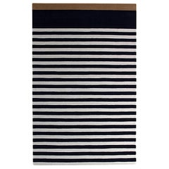 Blue White Striped Wool Area Rug 5x8