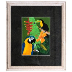 Hughs Tropical Modern Painting of Parrot Birds and Flowers