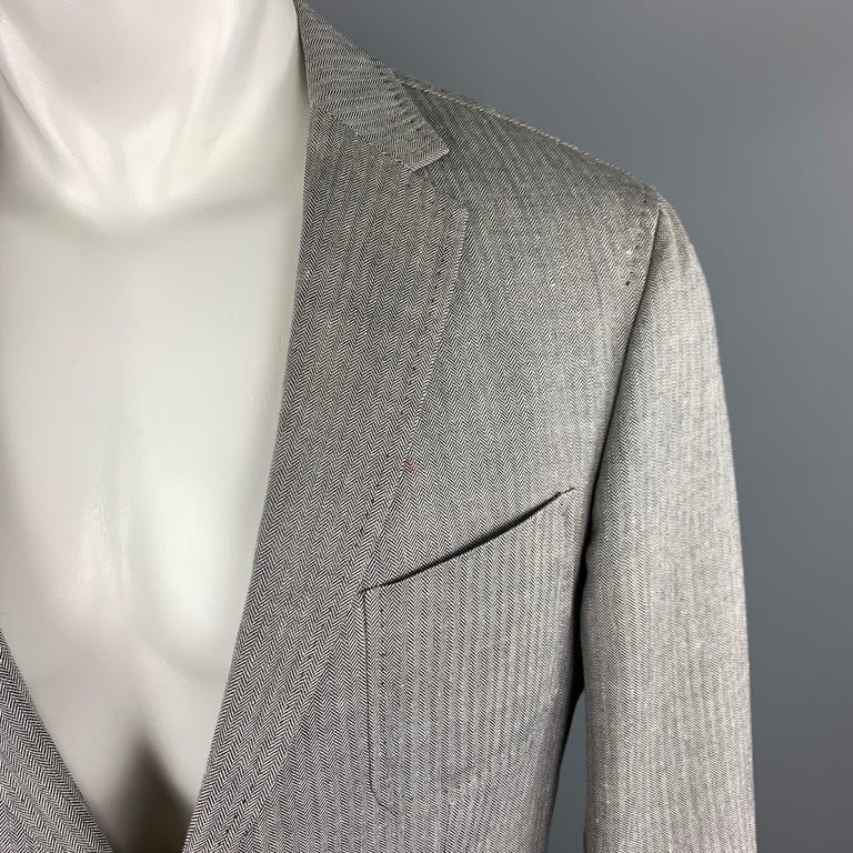 305337917e HUGO BOSS 38 Regular Grey Herringbone Wool / Linen Notch Lapel Sport Coat