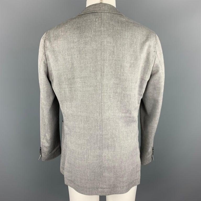 Men's HUGO BOSS 38 Regular Grey Herringbone Wool / Linen Notch Lapel Sport Coat For Sale