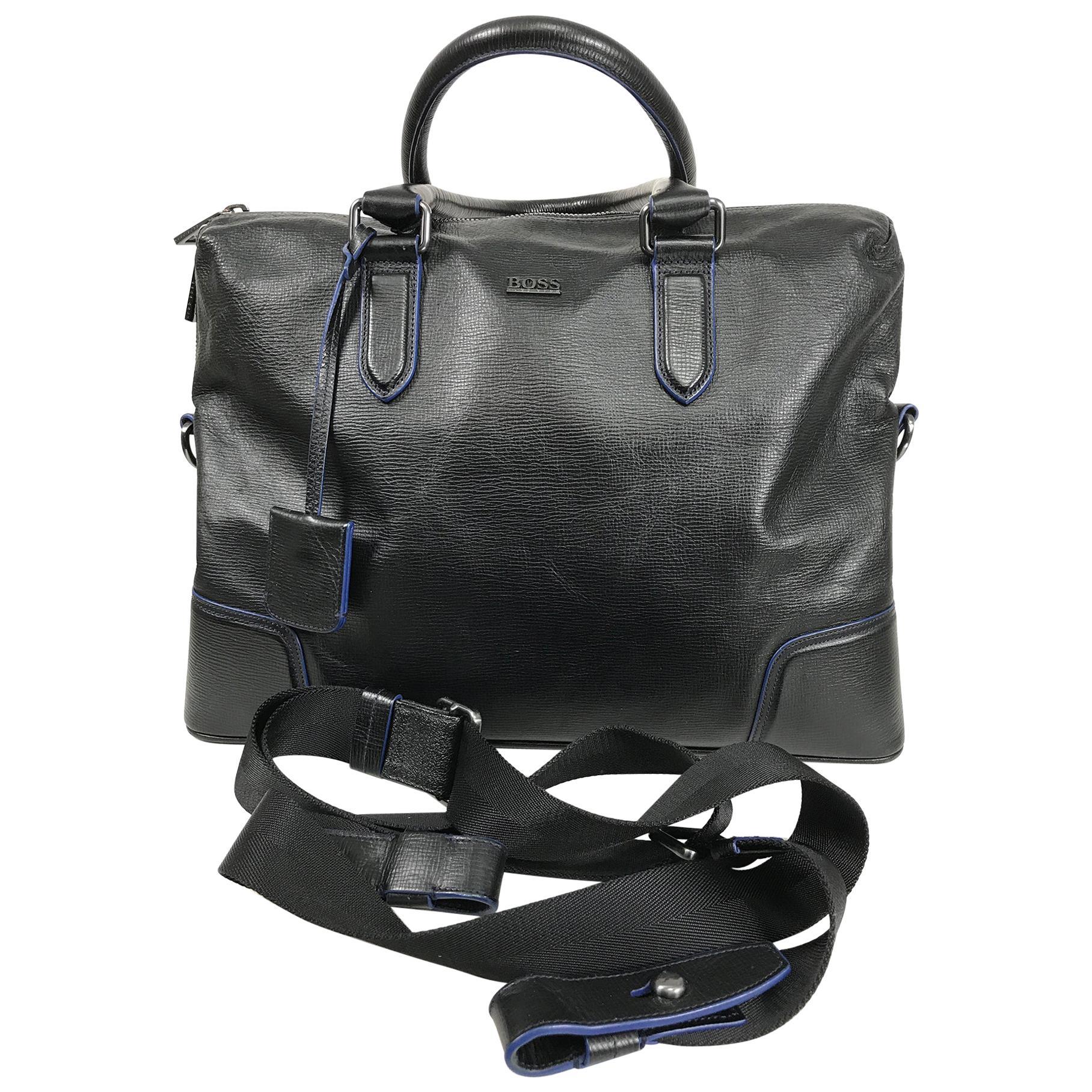 Hugo Boss Black & Blue Leather Business Bag Carry On Shoulder Bag