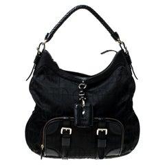 Hugo Boss Black Nylon and Leather Pocket Zip Hobo