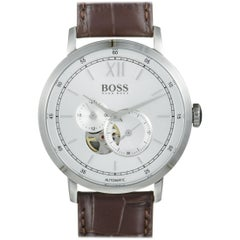Hugo Boss Signature Men's Silver Visible Movement, Brown Leather Band 1513505