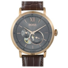 Hugo Boss Signature Men's Visible Movement Watch, Brown Leather Band 1513506