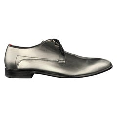 HUGO BOSS Size 10 Gray Metallic Silver Textured Leather Lace Up Derby