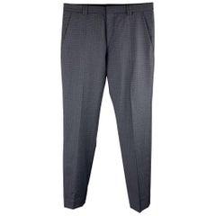HUGO BOSS Size 28 Navy Plaid Virgin Wool Dress Pants