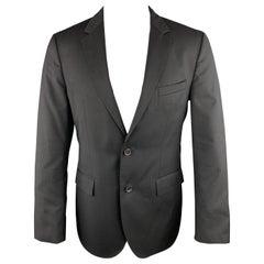 db2be798a310d HUGO BOSS Size 38 Black Wool Notch Lapel Striped Texture Regular Sport Coat
