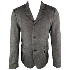 HUGO BOSS Size 38 Regular Charcoal Wool Blend Notch Lapel Sport Coat Jacket