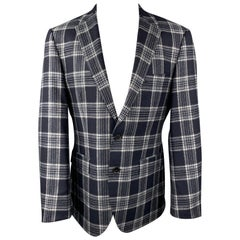 HUGO BOSS Size 38 Regular Navy & Grey Plaid Cashmere / Silk Sport Coat