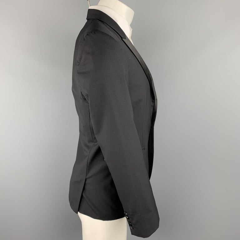 HUGO BOSS Size 38 Short Black Wool Peak Lapel Tuxedo Suit In Excellent Condition For Sale In San Francisco, CA