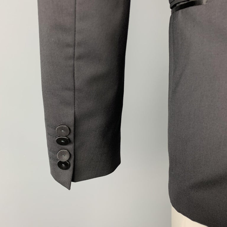 HUGO BOSS Size 38 Short Black Wool Peak Lapel Tuxedo Suit For Sale 1
