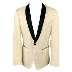 HUGO BOSS Size 40 Beige & Black Wool Shawl Collar Sport Coat